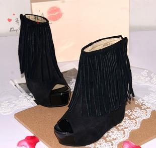 2013春季新款 韩版真皮流苏内增高短靴 磨砂皮坡跟鱼嘴凉鞋女式