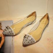 供应铆钉尖头单鞋 CL红底鞋 铆钉尖头单鞋 银色平底透明女鞋