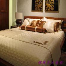 供应雅庭家纺床样板间床品绗棉10件套新古典咖啡米黄软装含芯绗缝