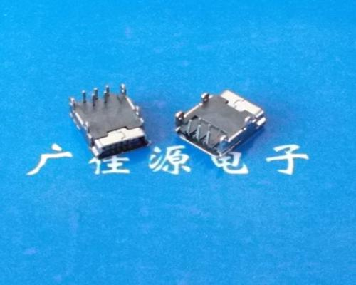 供应迷你usb连接器 供应Mini USB 5P90度四脚DIP