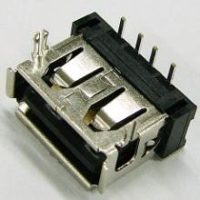 供应 USB 短体 A母90度 10.6DIP 两脚鱼 叉有卷边图片