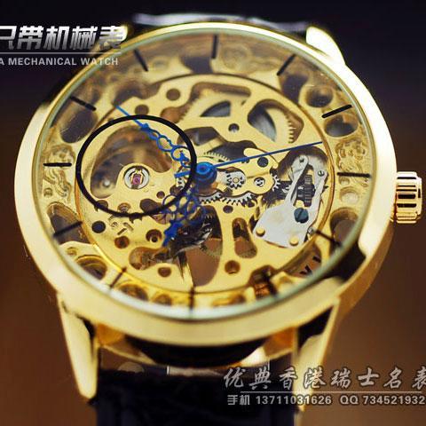 外贸双面镂空复古男士手表 半自动机械表男表潮腕表 皮带正品手表036