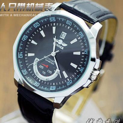 高品质男士复古全自动机械表 男表腕表手表日历商务透底皮带表W019