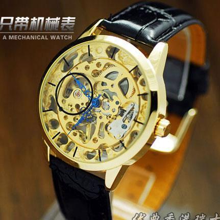 特价新款正品精细镂空复古表男士手表机械表男表潮流时尚腕表皮带W036