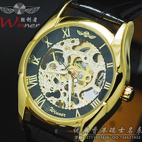 批发特价香港男士手表腕表半自动双镂空机械表瑞士复古皮带男表W002