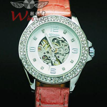 外贸水钻镂空腕表 女士时装表皮带潮表 全自动机械表女表手表057