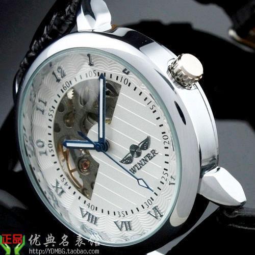 外贸陀飞轮镂空潮表 型男士半自动机械表男表 英伦潮腕表皮带手表021