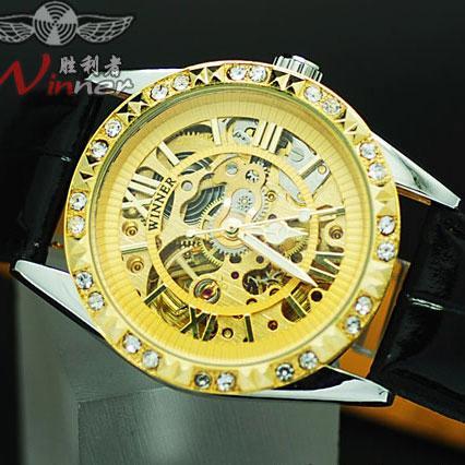 外贸腕表 潮女士镂空水钻金色女表 全自动机械表手表056