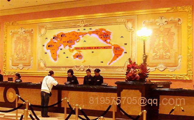供应星级酒店吧台背景墙设计装饰案例-新款世界时钟