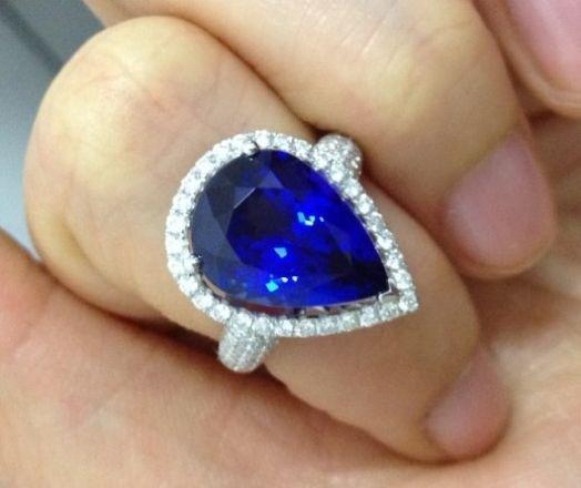 供应18K金镶钻坦桑石女戒定制坦桑石钻石戒指Q2501326982