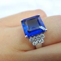 供应18K方形坦桑石豪华女戒 坦桑石钻石戒指