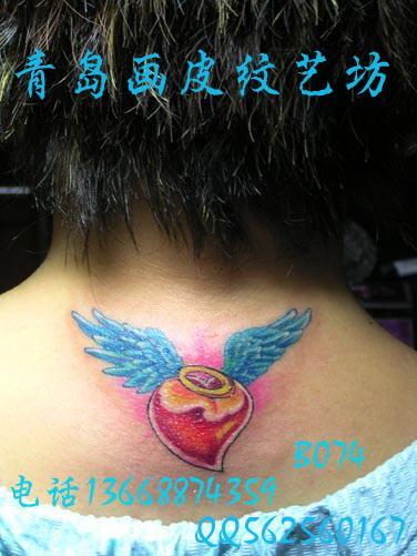 供应青岛纹身女士纹身图案脖子后面纹身 (376x501)-1,后脖纹身图案图片