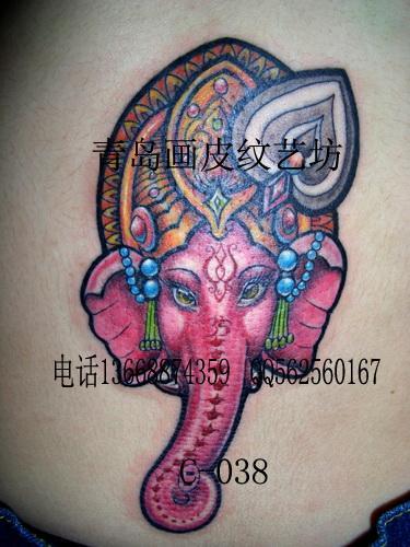 供应象神纹身图案女士的守护神