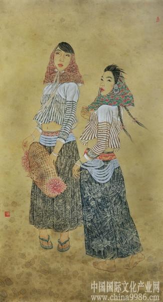 踏浪图 浅谈曲湘平现代人物工笔艺术作品