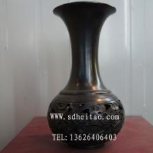 供应黑陶花瓶-黑陶菊花镂空花瓶