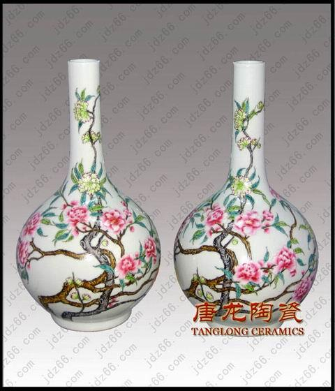 供应手绘粉彩牡丹陶瓷胆瓶 高仿粉彩瓷器 粉彩陶瓷工艺品 粉彩瓷器