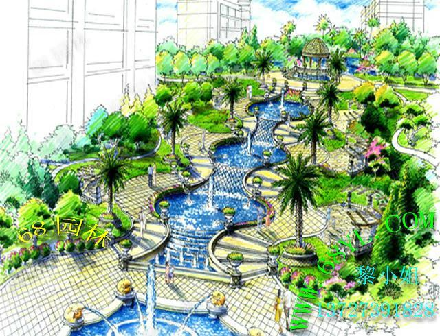 入户花园效果图设计$电议2013-01-14-六八园林假山鱼池产品展示 园