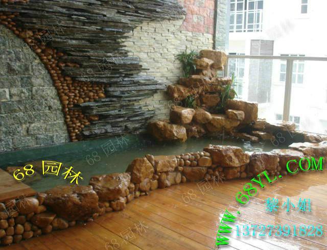供应水幕墙装饰鱼池假山 绿化田园景观园林设计高清图片