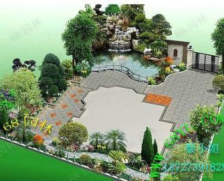 供应效果图/园林花园效果图设计/后花园假山鱼池鱼池设计图纸