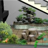 供应家居花园假山鱼池效果图 流水水景假山鱼池园林造景