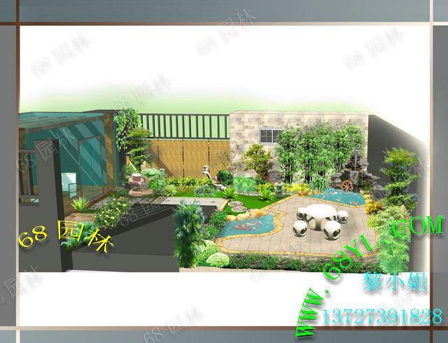 图供货商 供应入户花园景观效果图 假山鱼池效果设计 景观鱼池过滤