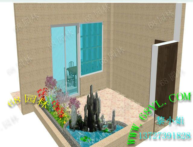 供应入户花园景观效果图 假山鱼池效果设计 景观鱼池过滤布局