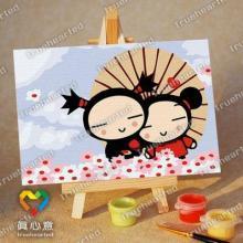 diy手绘数字油画KT猫与小熊公主1015厂家提供批发加盟批发