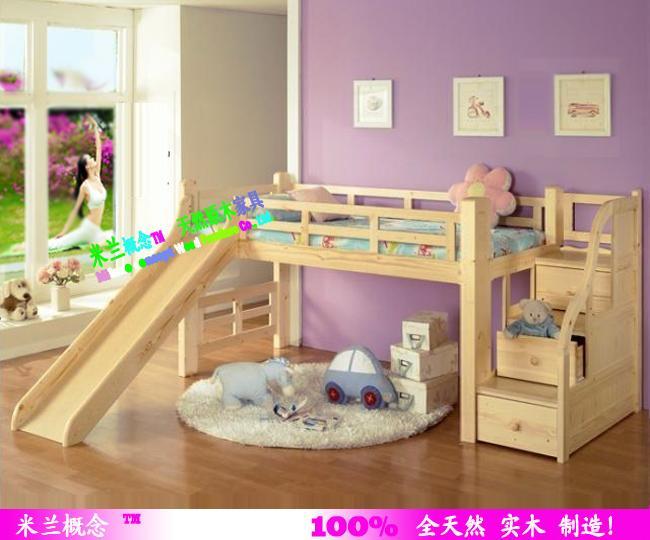 供应实木儿童家具松木儿童床滑梯子母床;100全实木制造,可订做!