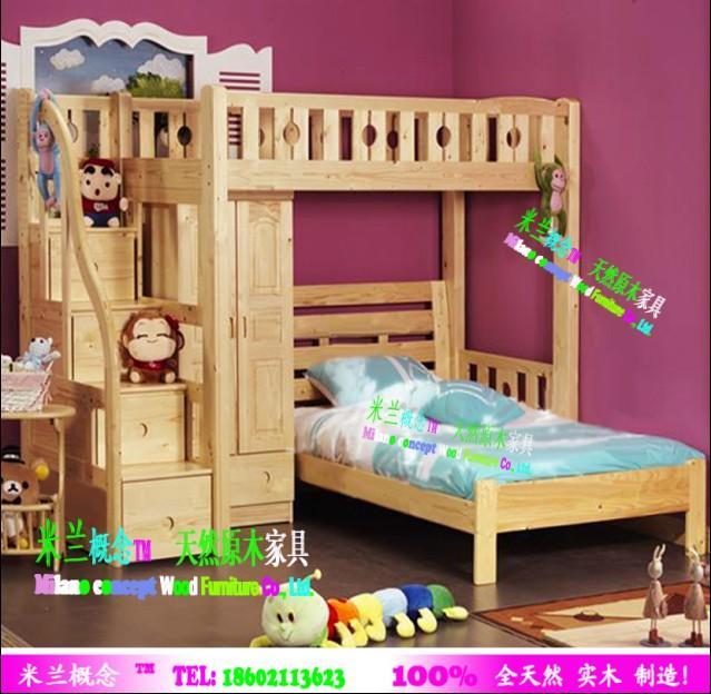 供应珠海家具100全天然原木儿童床;实木子母床,双层床