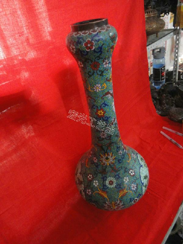 景泰蓝花瓶图片 景泰蓝花瓶样板图 古玩城 景泰蓝花瓶 乾...