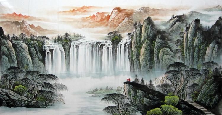 供应云水谣画坊纯手绘高品质写意山水画家庭装饰必备图片