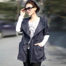 供应女装薄款风衣连帽宽松时尚韩版女装大衣贴袋潮流外套加工订做批发