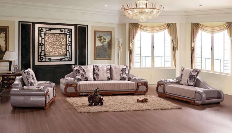 供应客厅欧式大款皮配布沙发图片