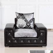 休闲小户型皮布单人沙发黑色图片