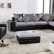 小户型转角休闲皮布沙发黑色图片