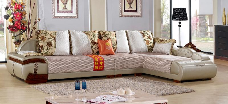 供应客厅欧式皮配布沙发厂家直销图片