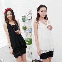 大码女装2012夏装新品P26161款韩版无袖纯色拼接雪纺连衣裙