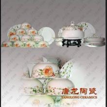 餐具套装56头时尚骨瓷碗碟套装景德镇盘子碗具家用礼品56头骨瓷餐具价格批发