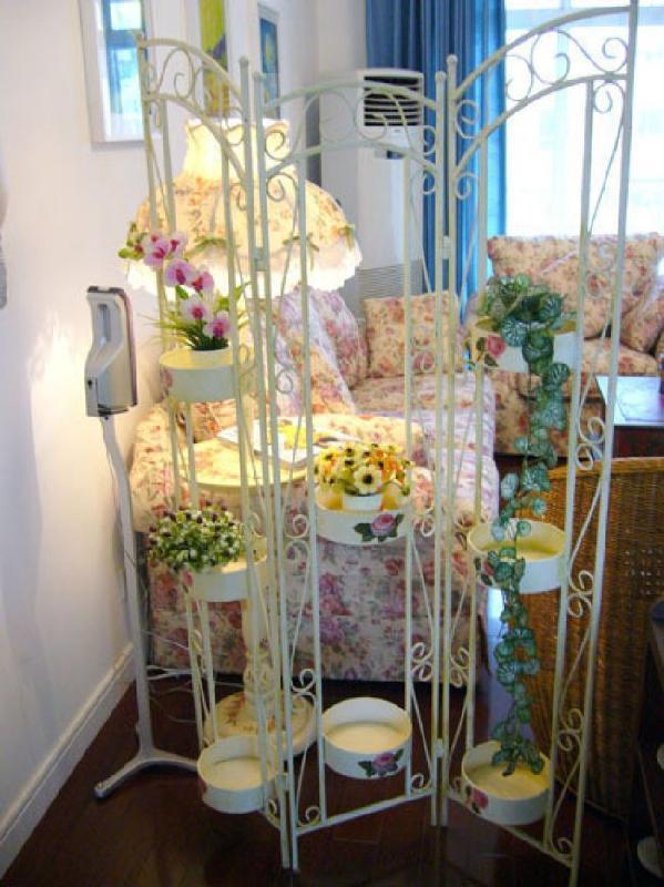 铁艺室内花架效果图图片大全 铁艺阳台花架 室内客厅三层