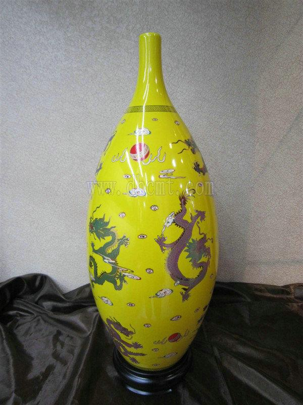 瓷瓶图片 瓷瓶样板图 帝王黄瓷瓶批发 福建省燚垚有限公司
