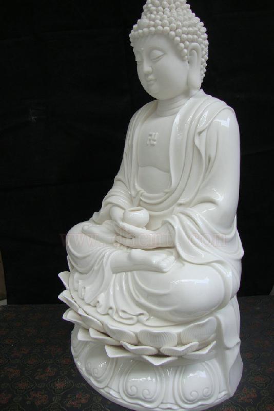白瓷图片 白瓷样板图 阿弥陀佛德化白瓷16寸西方三圣观 福...