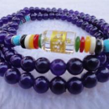 供应优质青金石(紫玉)108颗佛珠手链批发