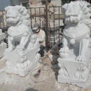 沈阳市汉白玉石狮雕塑/动物石雕/图片