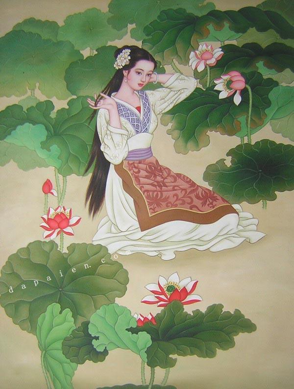 应中国古典美女油画定制