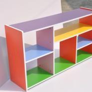 防火板彩色玩具三层柜图片