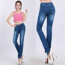 供应2012热卖欧版双裤腰牛仔裤女式长裤