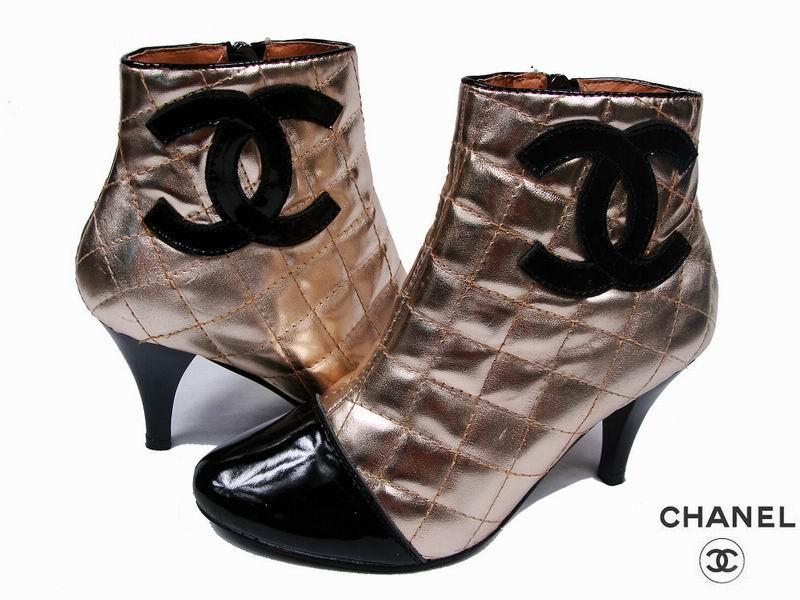 供应欧美香奈儿女靴子低跟女鞋