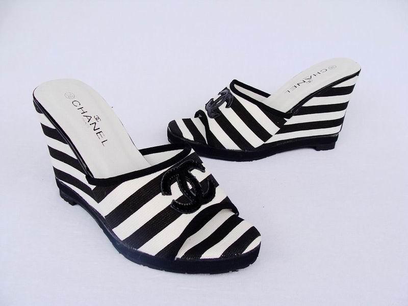chanel香奈儿坡跟女拖鞋