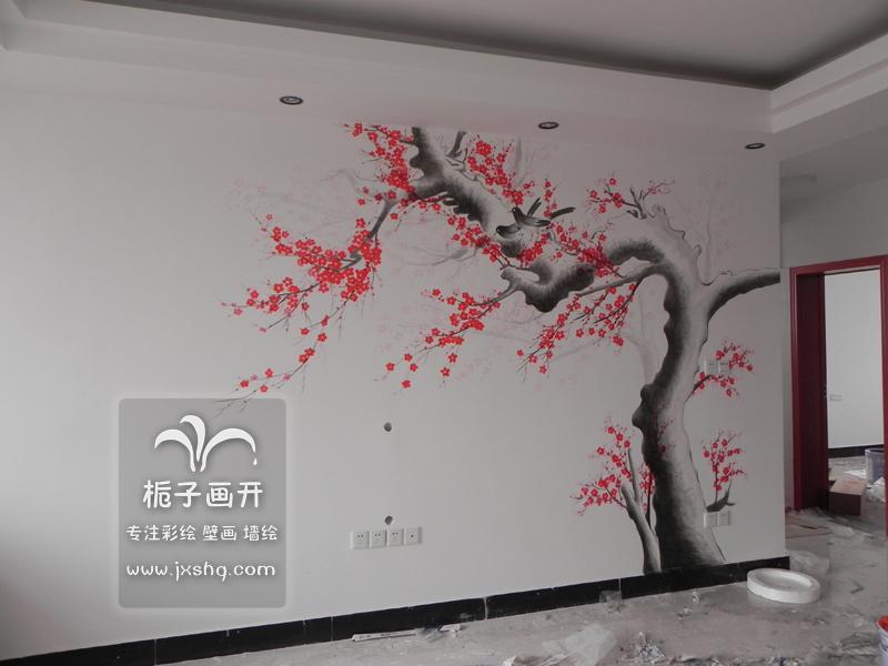 供应上海手绘墙电视背景墙梅花素材