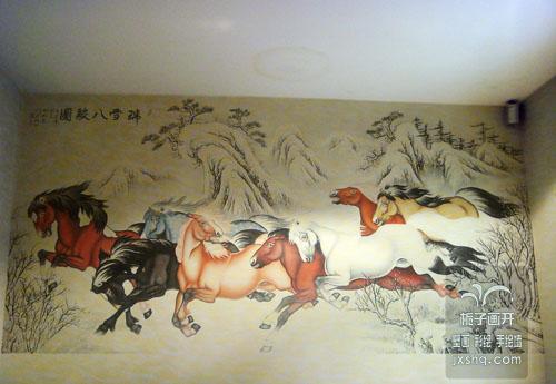 手绘墙_手绘墙供货商_供应八骏图墙绘上海手绘墙壁画